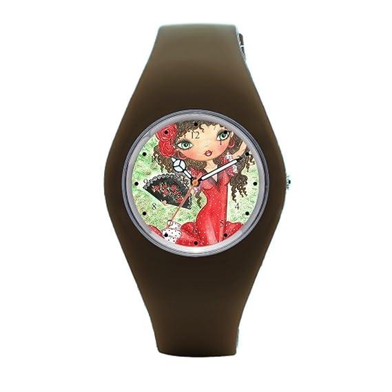 Para hombre de goma relojes Flamenco Ventilador de goma deportes relojes: Amazon.es: Relojes