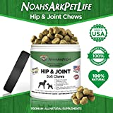 Noah's Ark Pet Life Advanced Hip Joint Supplement Dogs, Soft Chews, Arthritis Pain Relief, Anti Inflammatory, Glucosamine Chondroitin MSM, All Natural Organic Turmeric, Bacon Flavor, 90 Ct