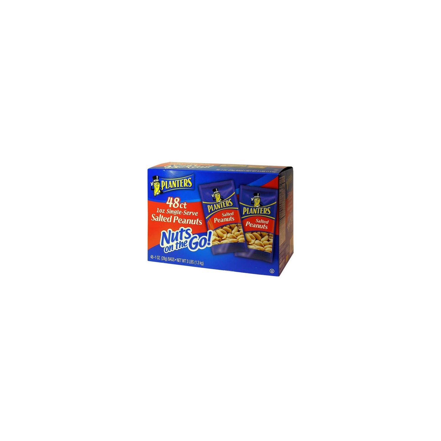 Planters Nuts on the Go Salted Peanuts, 1 oz single-serve bags, 96 Bags Total