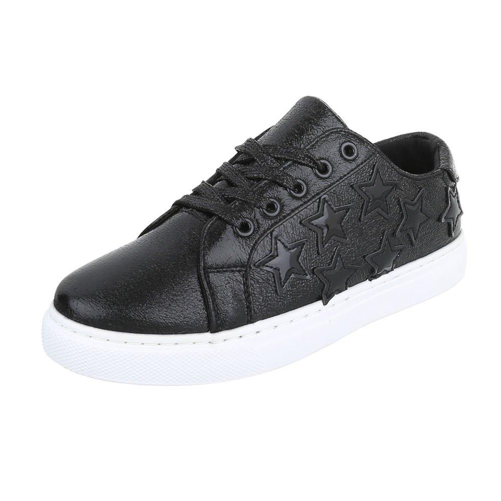 Ital-Design Damenschuhe Freizeitschuhe Sneakers Niedrig Niedrig Sneakers Schwarz 156cb7