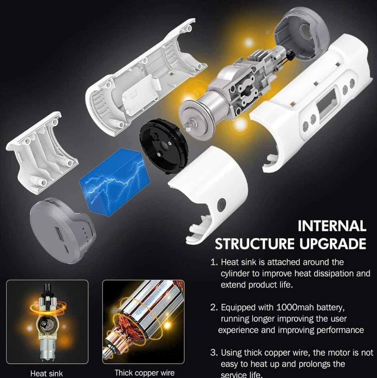 HS-XP Multifunctional Wireless Intelligent Car Air Pump Portable Air Compressor 12V Tire Inflator,Black White