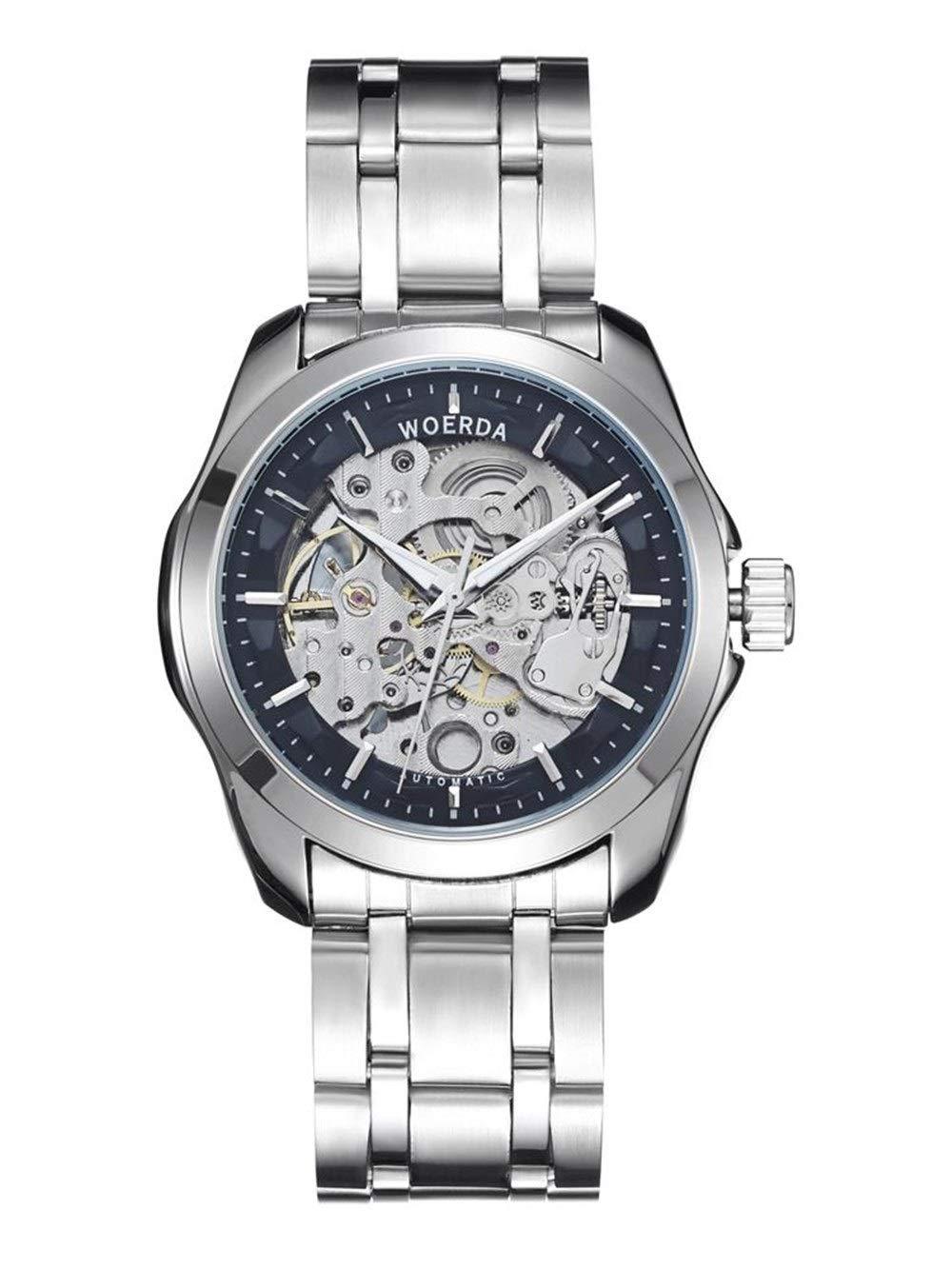 Wyx klocka herr automatisk ihåligt stålbälte sport mekanisk klocka mode trend vattentät lysande (silver) WTR a
