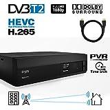 Crypto Redi 270PH 1080P Full HD 1080P DVB-T2 HEVC H.265 décodeur tnt hd avec Dolby, Full Multimédia Lecteur H.265 / MPEG-2/4 et câble HDMI 1M