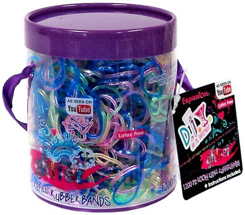 Expressions D.I.Y. 1200 Rainbow GLITTER Latex-free Rubber Band Bracelet Refill Loom ()