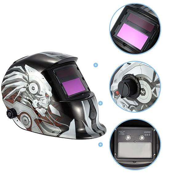 TOOGOO mascara casco de soldadura de oscurecimiento auto solar patron de calavera mascara de soldador de molienda equipo de proteccion de soldadura: ...