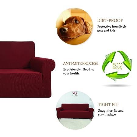 FlowersSea Fundas de sofá de Esquina de 1/2/3 plazas, de fácil Ajuste, de poliéster, Elastano, elástico, Funda de sofá, Rojo, 2seat
