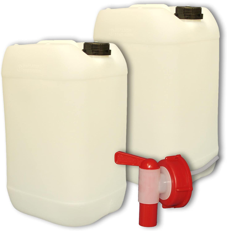 Lot de 2 Bidons plastique 25 litres Jerrican 22247x2+22010 1 robinet DIN 61