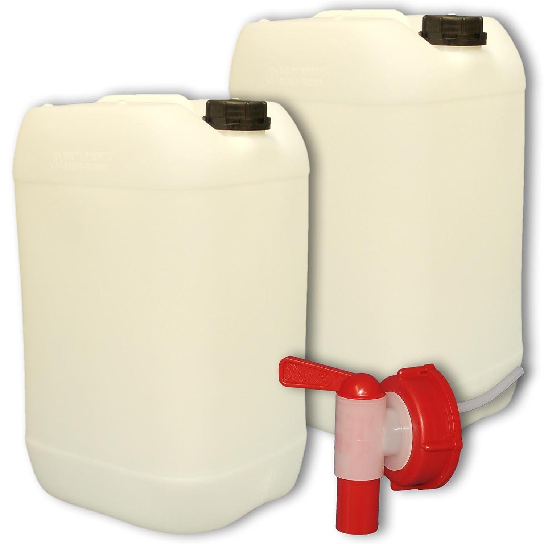 Lot de 2 Bidons plastique 25 litres Jerrican + 1 robinet DIN 61 (22247x2+22010) Wilai