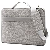 Mosiso Laptop Shoulder Bag for 13-13.3 Inch MacBook Pro, MacBook Air, Surface Book, Notebook Computer Polyester Portable Multi-functional Sleeve Case Handbag with Back Handy Strap, Gray