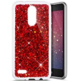 LG K8 2017 Case,LG K8 2017 Glitter Case,Ukayfe Luxury Sparkle Bling Case Cover for LG K8 2017, Red Hexagonal Star Pattern Glitter Shiny Soft Gel TPU Silicone Case Scratchproof TPU Bumper Protective Back Cases Cover For LG K8 2017 (Red)