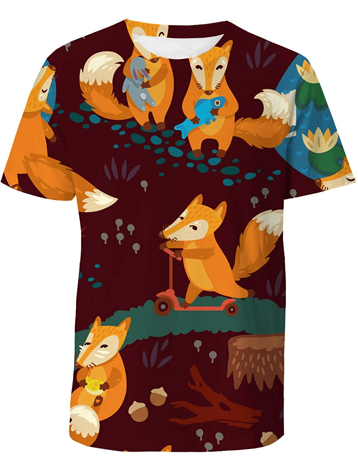 EZON-CH Mens Short-Sleeve Crewneck T-Shirt,Assorted Fashion 3D Printing Male Blouse Tee Tops,Cartoon Fox for Youth,