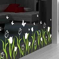 Pegatinas de pared con diseño de muguet y flores, para decoración de pared, dormitorio, salón, pasillo, 33 x 83 cm