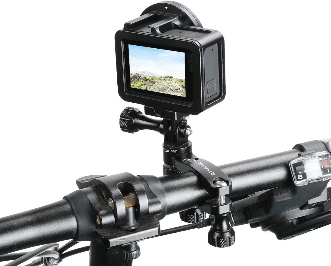 HUIFANGBU 360 Degree Rotation Bike Aluminum Handlebar Adapter Mount with Screw for GoPro HERO8 Black//Max // HERO7 Xiaoyi and Other Action Cameras Color : Black DJI OSMO Action Black
