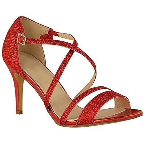 1ca06e4b1b2 Fashion Thirsty Mujer Bajo Tacón Bajo Sandalias De Tiras Fiesta Graduación  Boda pedrería Talla  Amazon.es  Zapatos y complementos
