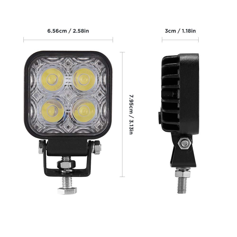 excavadoras trabajo Faros12 W Viugreum Reflector LED 1000LM Super Bright 4 Light Beads para veh/ículos todo terreno IP67 Blanco fr/ío 6000k para autom/óvil Faros delanteros Luces de ATV