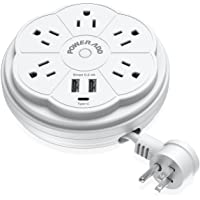 POWERADD Travel Power Strip 5 Outlet Surge Protector with Retractable Cord Smart USB Ports and Type-C Port, 125V/13A, 3…