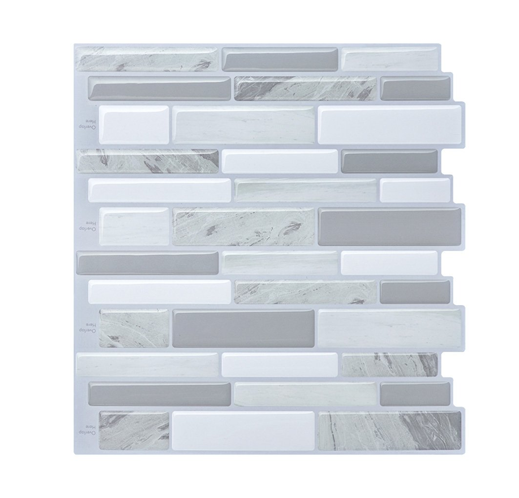 Modern Grey Peel and Stick Subway Tiles, Vinyl Backsplash for Bathroom and Kitchen 10'' x 9.8'' Pack of 5 by HUE DECORATION