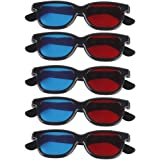 Generic MagiDeal 5 Pair Adult Plastics Red/Blue 3D Glasses Anaglyph Glasses,Black