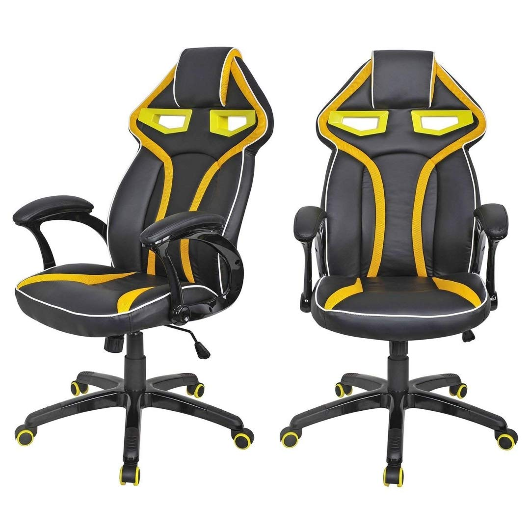 Modern Racing Car Style High Back Gaming Chair Comfortable Bucket Seat Adjustable Armrest Desk Task Thick Padded PU Leather Upholstery Posture Support Home Office Furniture - Set of 2 Yellow #2122 by KLS14