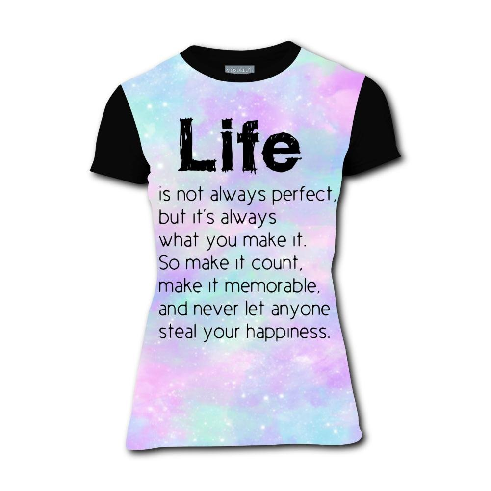 194ba039 Amazon.com: KssKsa Motivational Quotes About Life Women's Casual T-Shirt 3D  Print Short Sleeve: Clothing