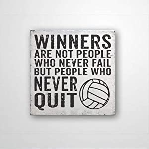 DONL9BAUER Winners are Not People Who Never Fail But People Who Never Quit Volleyball, Wood Sign Sports Decor, Sports Quote, Volleyball, Farmhouse Decor Rustic Home Decor Wall Hanging Indoor Outdoor