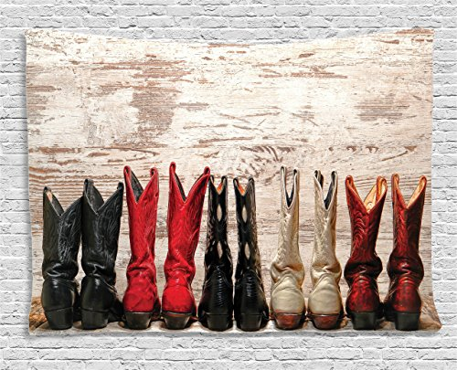 Ambesonne Western Decor Tapestry, American Legend Cowgirl Leather Boots Rustic Wild West Theme Cultural Folkart Print, Wall Hanging for Bedroom Living Room Dorm, 80 X 60 Inches, Beige Red Black