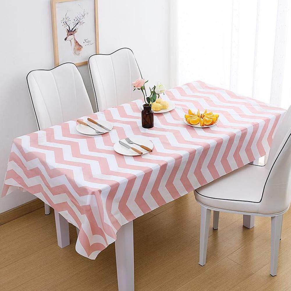 WJJYTX gartentischdecke eckig, wasserdichter tischdecke Stoff Dekoration für Party Hochzeit rosa Streifen Zwei stück @ 137 * 180