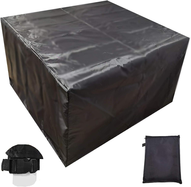 Momoco Protectora para Muebles de jardín Cubierta Impermeable para Muebles de jardín, 420D Funda para Muebles de Jardín con 2 Hebillas, Cubierta de Muebles de Patio a Prueba de Viento(126x126x74cm)
