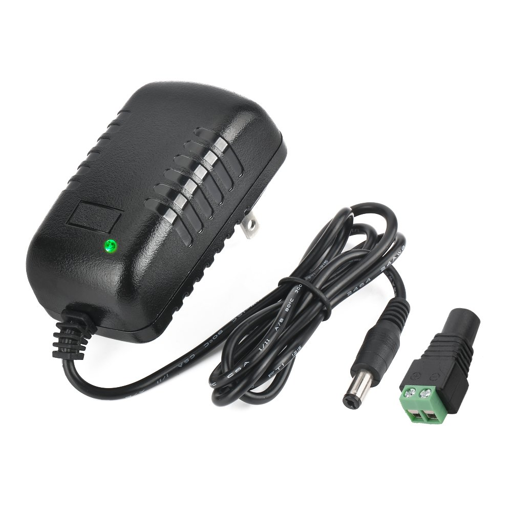 AC Adapter, YIFENG 12V-2A Switching Power Supply Adapter for 100V-240V AC 50/60Hz with DC Connector Gift