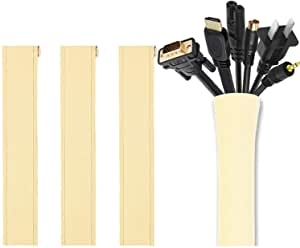 Cable Management Sleeve, JOTO Cord Management System for TV/Computer/Home Entertainment, 19-20 inch Flexible Cable Sleeve Wrap Cover Organizer, 4 Piece -Beige