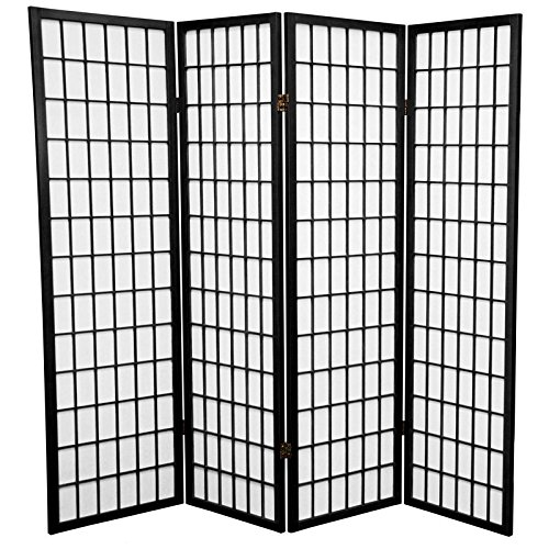 Oriental Furniture 5 ft. Tall Window Pane Shoji Screen - Black - 4 Panels (Asian Screen Lamp)