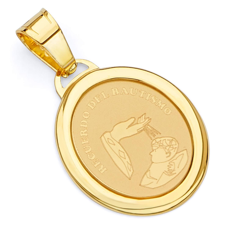Wellingsale 14K Yellow Gold Polished Religious BaptismRecuerdo Del Bautismo Charm Pendant