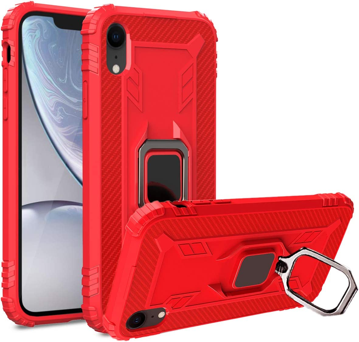 iPhone XR Case Military Grade Drop Impact Tested Armor 360 Metal Rotating Ring Kickstand Holder Built-in Car Mount Silicone Shockproof Anti-Scratch Full Body Protective Cover for XR (Red)