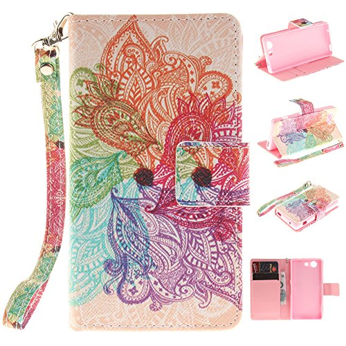 se,XYX [Colorful Flowers][Painted Lanyard] PU Leather Wallet Case Kickstand Cover with Built-in Slots for Sony Xperia Z3 Compact ()