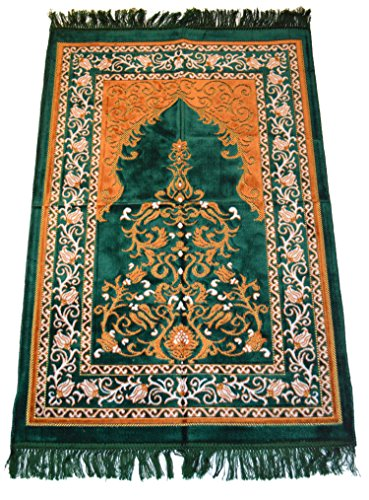 Islamic Prayer Rugs Made in Turkey with Fine Velvet Superior Quality (Green) by Prayer Rug