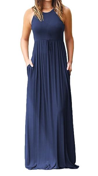 9d081b207c5 Women s Sleeveless Racerback Loose Plain Summer Beach Long Maxi Tank Dress  Sundress Navy Blue S