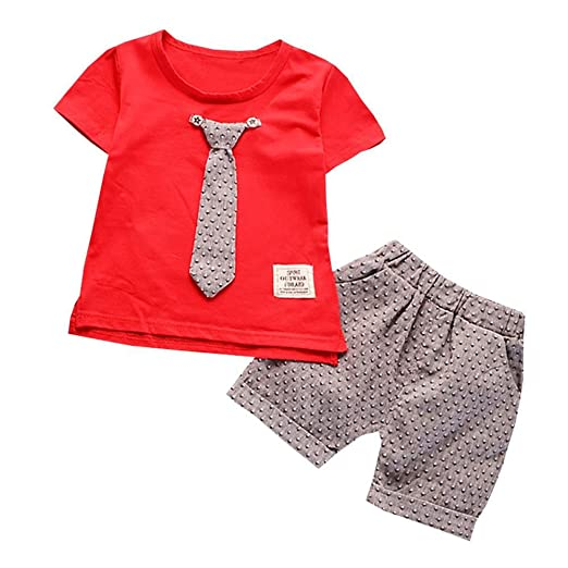 ca8517685311 Fanteecy Summer Baby Boy Outfits Cute Gentleman Bowtie T-Shirt +Shorts Set  Toddler Kids