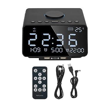 Garsent Altavoz Bluetooth Radio Reloj Despertador, Reloj ...