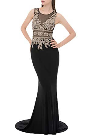 Huifany Women\'s Gold Lace Mermaid Sheer Back Formal Long Evening ...