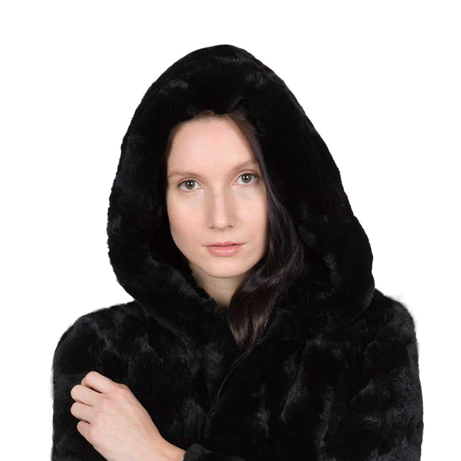 ff5d21340 OBURLA Women's Real Rex Rabbit Fur Jacket with Hood Fur Hooded Parka |  Soft, Luxurious and Warm Winter Coat (Small) at Amazon Women's Coats Shop