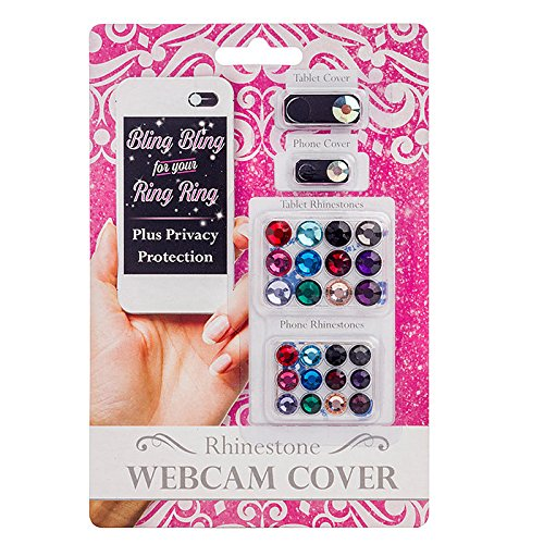 C-Slide Decorative Cam Cover Slider - Bling Bling for Your Ring Ring - Sliding Phone and Tablet Cover with Rhinestones - Decorated Camera Dots Privacy Sticker - Family Pack Black ()