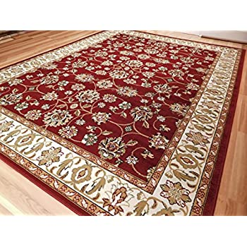 Perfect Large Persian Style Rugs Traditional Rug Burgandy 8 X 11 Red Rugs Cream  Green Beige 8