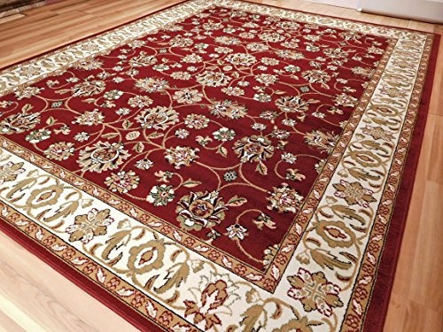 Large Persian Style Rugs Traditional Rug Burgandy 8 x 11 Red Rugs Cream Green Beige 8 by 10 Area Rugs For Living Room Prime, 8x11