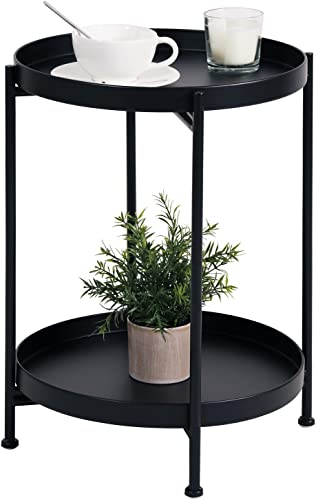 Metal End Table 2-Tier Small Side Table Round Coffee Table
