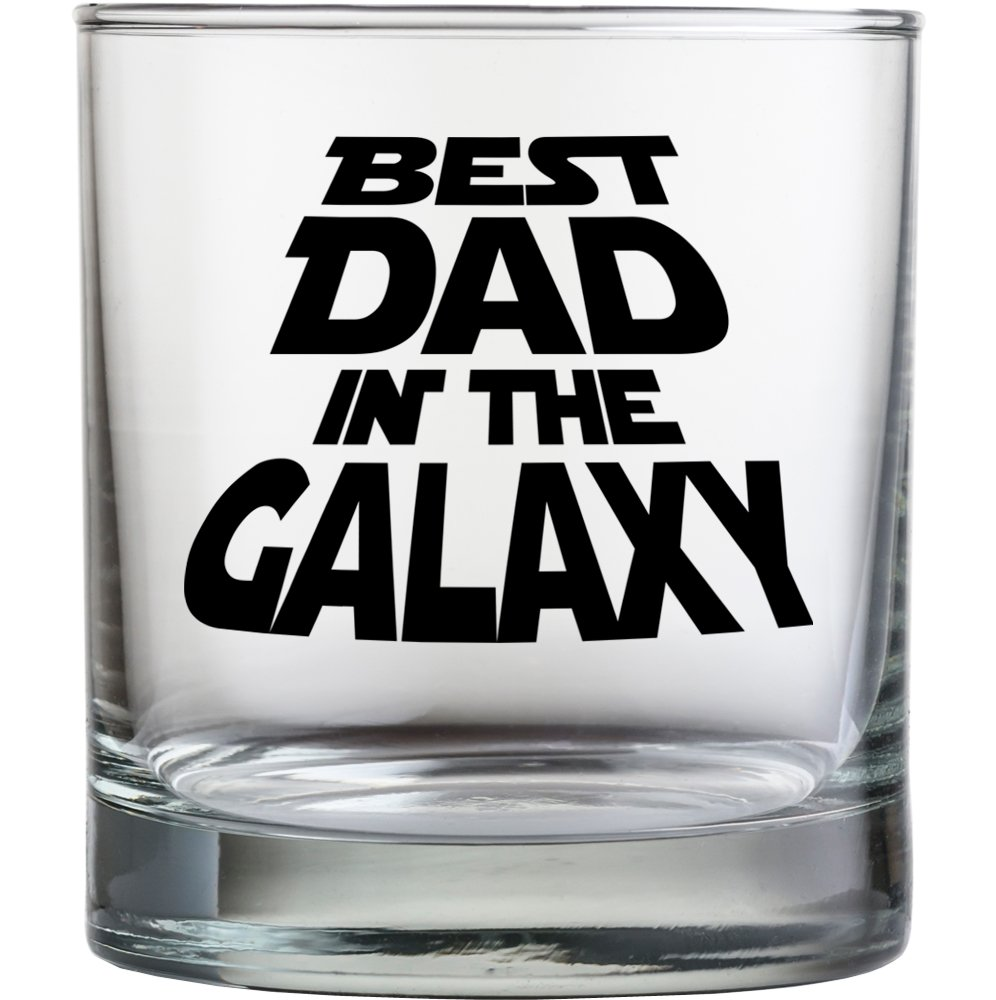 Best Dad In The Galaxy Laser Engraved Old Fashioned Whiskey Scotch Glass Daft /& Co Black