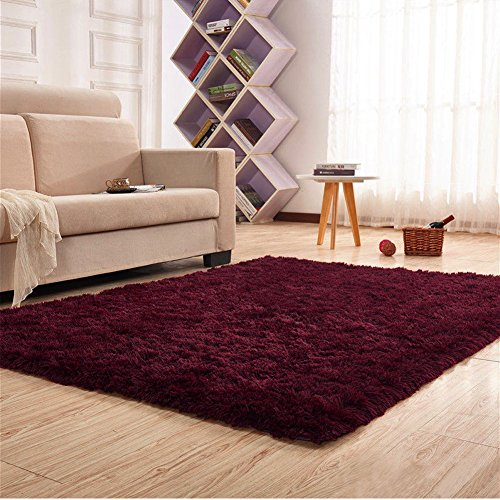 Noahas Super Soft 4.5cm Thick Modern Shag Area Rugs Fluffy Living Room Carpet Comfy Bedroom Home Decorate Floor Kids Playing Mat 4 Feet by 5.3 Feet (Claret-red) (Super Discount Furniture)
