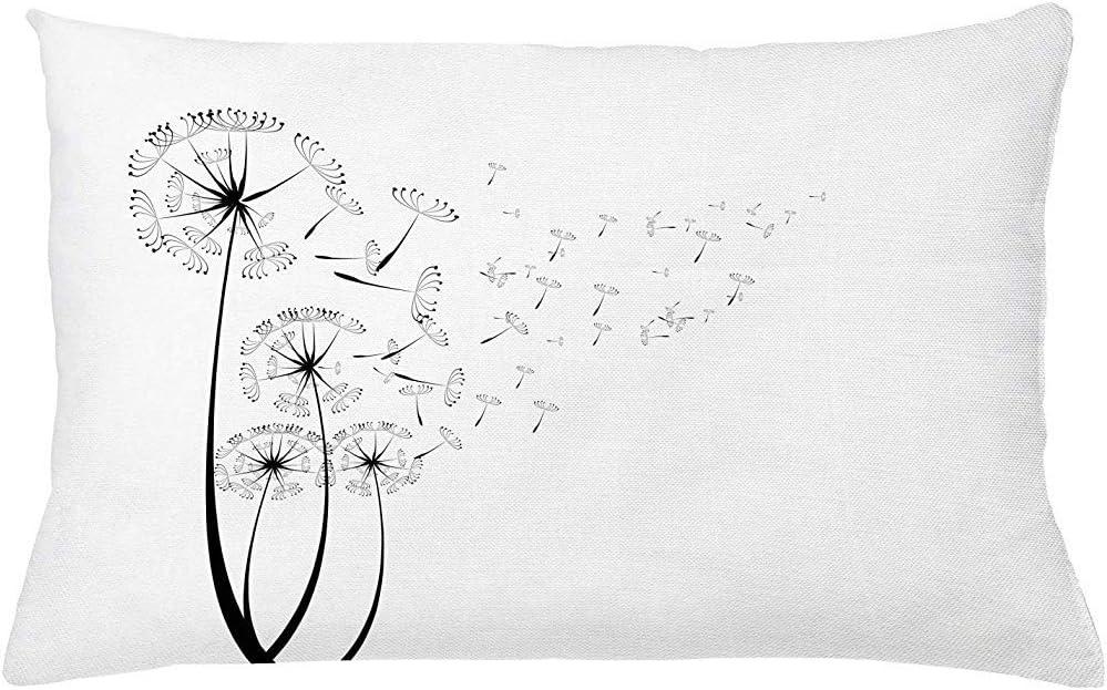 WHEYT Funda de cojín de Almohada de Diente de león, Diente de león monocromático con Semillas Que soplan en el Viento Funda de Almohada temática Romance de Flores esponjosas 50X65 cm