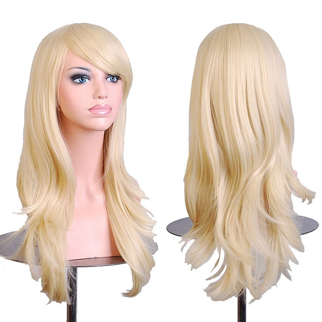 AneShe Wigs 28'' Long Wavy Hair Heat Resistant Cosplay Wig for Women (Light Blonde)