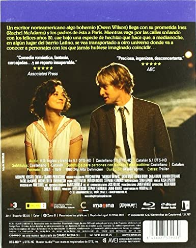 Midnight In Paris [Blu-ray]: Amazon.es: Owen Wilson, Michael Sheen, Rachel Mcadams, Marion Cotillard, Adrien Brody, Kathy Bates, Carla Bruni, Woody Allen, Owen Wilson, Michael Sheen: Cine y Series TV