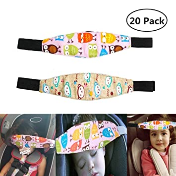 3916aca84a5 Amazon.com  Car Seat Head Support Band Safety Pram Nap Holder with  Adjustable Playpens Sleepy Positioner for Infants Baby Toddler Kids 2 Pack   Baby